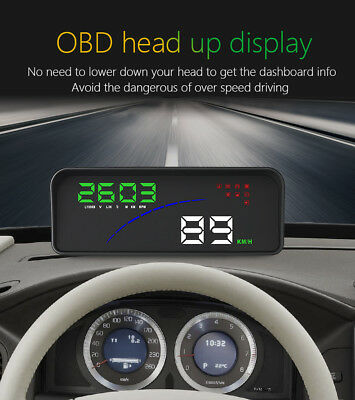 "5.5"" OBD II Car HUD Head Up Display Speed Fatigue Warning RPM Fuel Consum OBD 2"