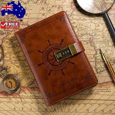 B6 Rudder Brown Leather Journal Blank Diary Book Note Book Combination Lock  +