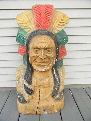 Antique Vintage WOODEN CIGAR STORE INDIAN Tobacco Store Carved Wood Large Bust