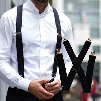 35mm Wide Mens X-Back X Shape Heavy Duty Trousers Brace Suspenders Black JA