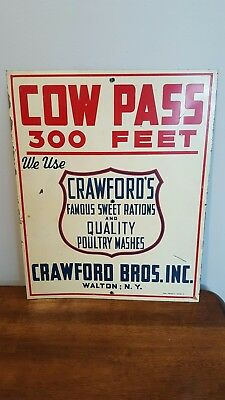 Orig 1950s Crawfords feeds Cow Pass sign