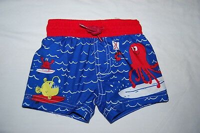 M&S Swimming Shorts Sealife Blue Mix UPF 40+ Age 6-9 Months BNWT