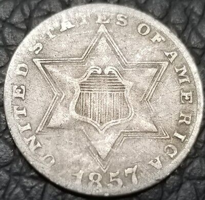 1857 3C Three Cent Silver Coin - *Better Date* - VF Condition [AK6079]