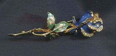 Vintage french blue rose flower enameled Brooch pin gold plated with