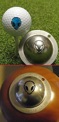 1 only TIN CUP GOLF BALL MARKER - ALIEN - BUY ANY 2  CUPS get special offer