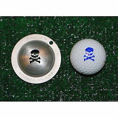 1 only TIN CUP GOLF BALL MARKER -JOLLY ROGER - SKULL & BONES