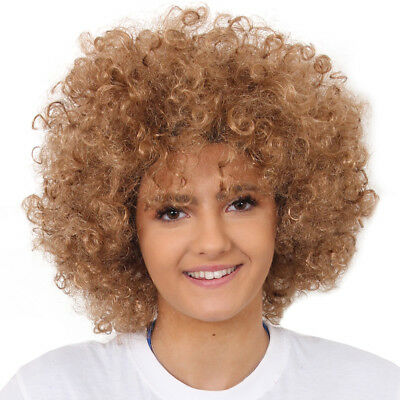 Brown Afro Wig Fancy Dress Curly Ladies Mens Hair 70S Disco Costume Accessory