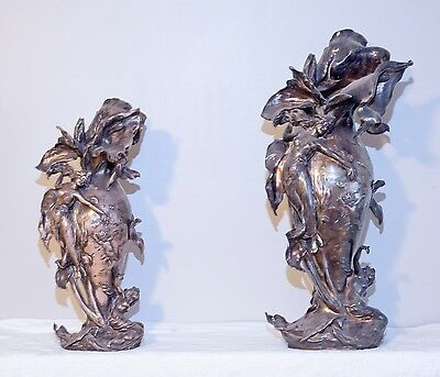 2 Two Gorgeous Art Nouveau Sterling Silver Vases Marked Mauser Mfg Co
