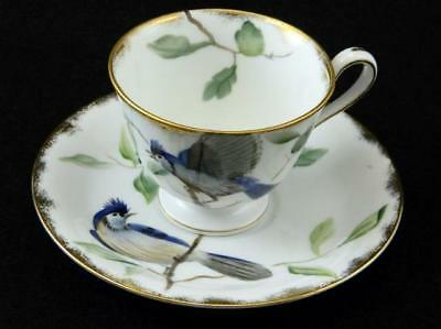 Vintage Lefton China Hand Painted Blue Jay Bird Cup & Saucer C&S #E2167