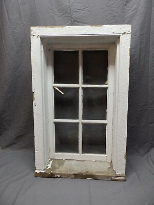 "Complete Antique 6 Lite Window Sash With Frame 37"" x 23"" Vtg Old 631-18P"