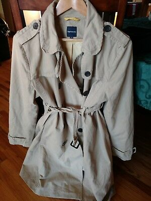 GAP MATERNITY Khaki Color Twill Canvas Utility Jacket Sz XL Tan With Belt NEW