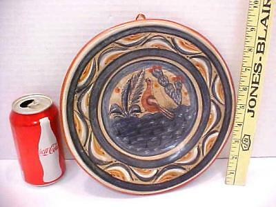 VINTAGE MEXICAN Tonala Wall Plate Picture of bird (dove)
