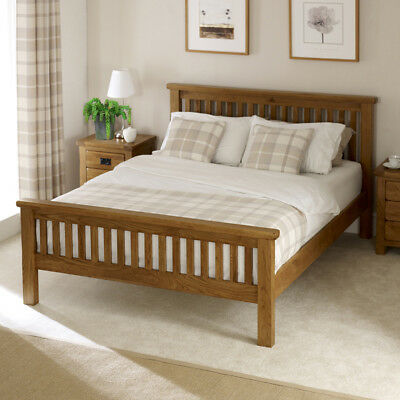 Rustic Solid Oak 5ft King Size Bed - High Foot Board - Slatted Headboard - RS05