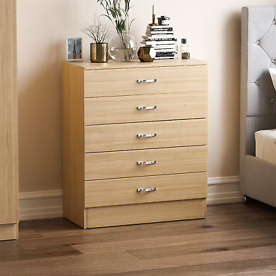 Riano Chest Of Drawers Pine 5 Drawer Metal Handles Runners Bedroom Furniture