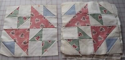 13 1930's Cat and Mouse quilt blocks, cute juvenile puppy print!