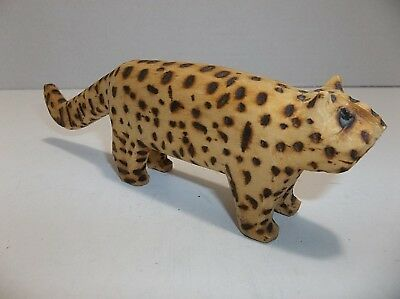 Vintage Mexican Folk Art Carved Wood LEOPARD