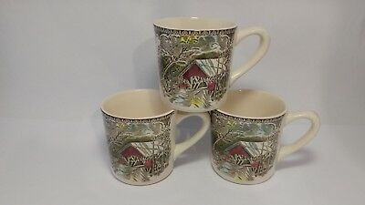 Set of THREE Johnson Brothers ENGLAND The Friendly Village Ear Handle Mugs