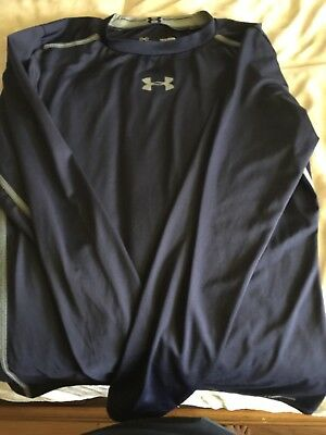 13fd48b1bb1e Under Armour Heat Gear Boys Long Sleeve Athletic Shirt Youth Large Fitted  Navy