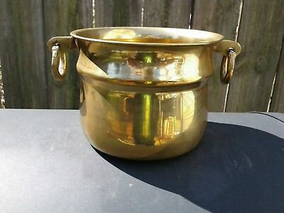 "Vintage solid brass pot / planter / bowl with 2 ring handles ""India"""