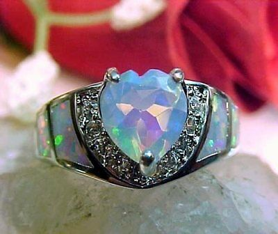 100% Natural Ethiopian Opal 7.1mm Heart Faceted & White Fire Opal Ring 925 SS