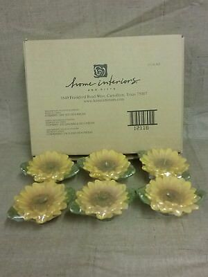 Vintage Home Interiors Homeco Sunflowers Floating Candles Box of 6 NEW Yellow