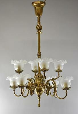 American Victorian 8 Arm Brass Gas Electric Chandelier Frosted Shades Circa 1890