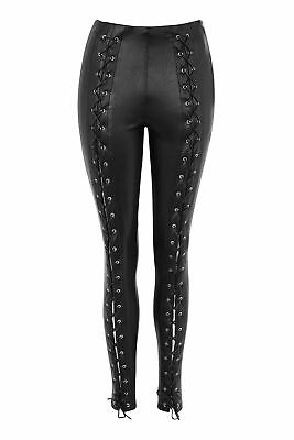 Faux Leather Lace Up Skinny Trousers Womens Vegan Fetish Rock Goth - Size 16