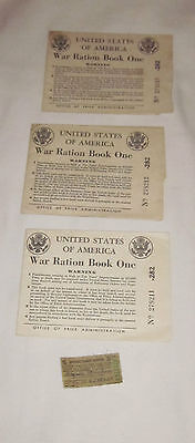 Vintage Lot Of Ww2 American War Ration Books And Sugar Coupon