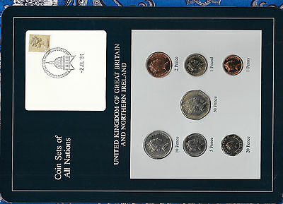 Coin Sets of All Nations Great Britain UNC 1£, 1,2,5,10,20,50p 1985