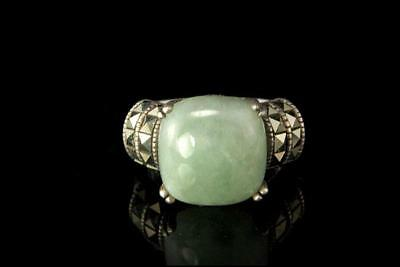 Antique Chinese Green Jade Cabochon Sterling Marcasite Ring A806-74