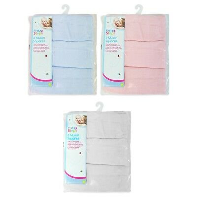 Soft Baby Muslin 3 pack 100% Cotton Squares Blanket Cloth Swaddle Bib Burp New