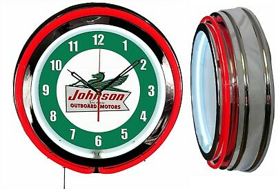 "Johnson Outboard Motors 19"" Double Neon Clock Red Neon Chrome Finish"