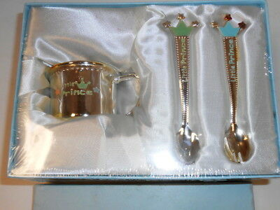 Little Prince Baby Boy Cup Fork Spoon Set By Elegance Mint In Box