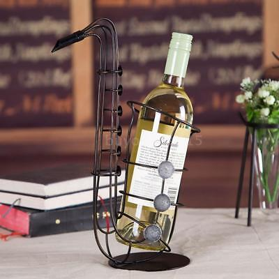 Tooarts Metal Sax Wine Rack Wine Bottle Holder Bar Ornament Crafts X7G9