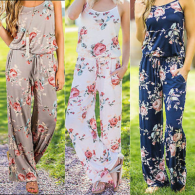 Women Summer Floral Long Wide Leg Pants Strappy Casual Beach Jumpsuit Romper US
