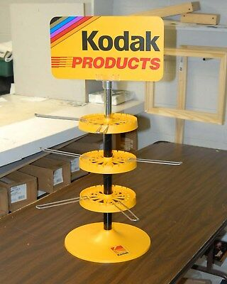 KODAK FILM / PRODUCTS DISPLAY Counter spin Rack Never used w/18 hooks