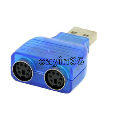 For PS/2 Mouse Keyboard USB To Dual 2 PS2 PS/2 Converter Adapter