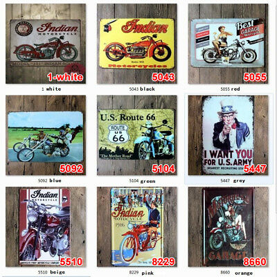 Vintage Tin Signs Motorcycle Plaque Art Wall  Poster Iron Garage Paintings Decor