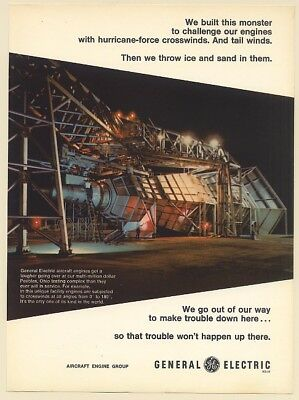 1970 GE General Electric Aircraft Engine Testing Complex Peebles Ohio Print Ad