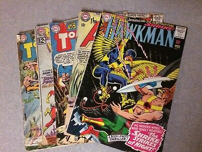 5 Bk Dc Low Grade Silver Age Lot Hawkman Atom Mystery In Space Tomhawk Must See