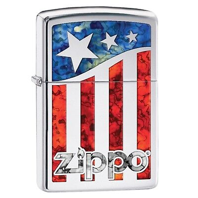 Zippo American Flag Pocket Lighter w/High Polish Chrome 29095