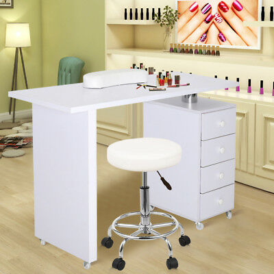 White Manicure Nail Hand Table Beauty Manicuring Station Desk Bar Cabinet Storag