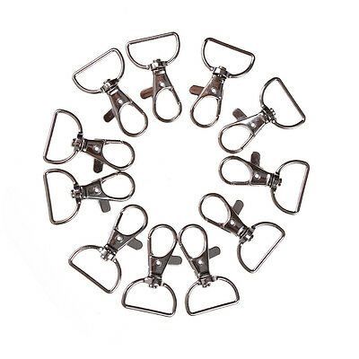 10pcs/set Silver Metal Lanyard Hook Swivel Snap Hooks Key Chain Clasp Clips QW