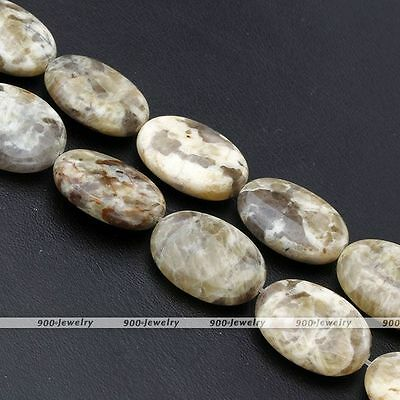 Strand Natural Feldspar Stone Flat Coin Charm Loose Bead Jewelry Findings Craft
