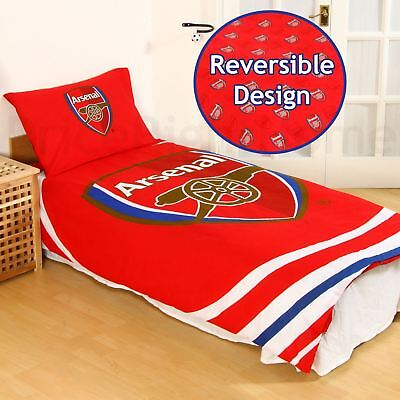 Arsenal Fc Pulse Single Duvet Cover And Pillowcase Set 100% Official New