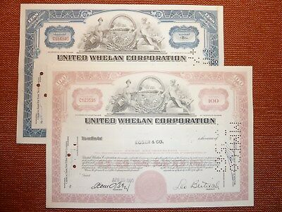 2 x United -Whelan  Corporation., 1961, 1963, 100 + div. Sh., TABAK