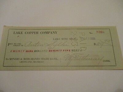 Lake Copper Company - Miners & Merchants State Bank - Greenland Mich
