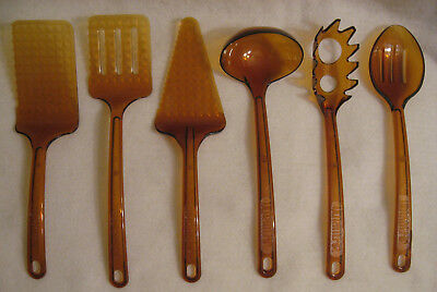 Set of 6 Vtg Robinson Knife Ultratemp Amber Utensils Visions Cookware Go With