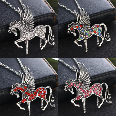 Pegasus Unicorn Flying Horse Crystal Pendant Chain Necklace For Women Men Gifts
