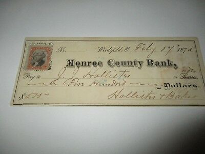 Monroe County Bank - with Stamp - 17Feb1873